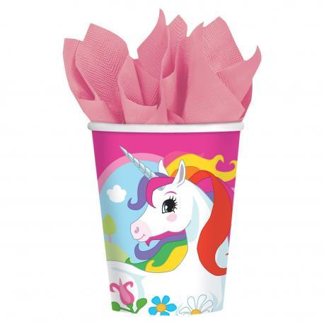 8 Gobelets en carton Licorne - 25cl - My Party Kidz
