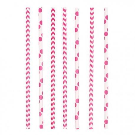 24-pailles-rose-pois-et-chevrons - MyPartyKidz
