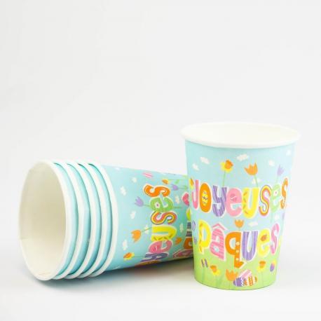 6 Gobelets en carton Joyeuses Pâques - 25 cl - My Party Kidz