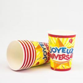 6 Gobelets en carton Joyeux Anniversaire - 25 cl - My Party Kidz
