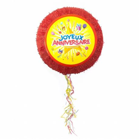 Pinata ronde Joyeux Anniversaire en carton - diam 50 cm - My Party Kidz