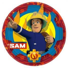 8-assiettes-sam-le-pompier-23-cm - MyPartyKidz