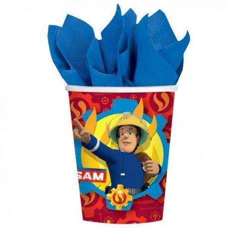 8-gobelets-en-carton-sam-le-pompier-25-cl - MyPartyKidz