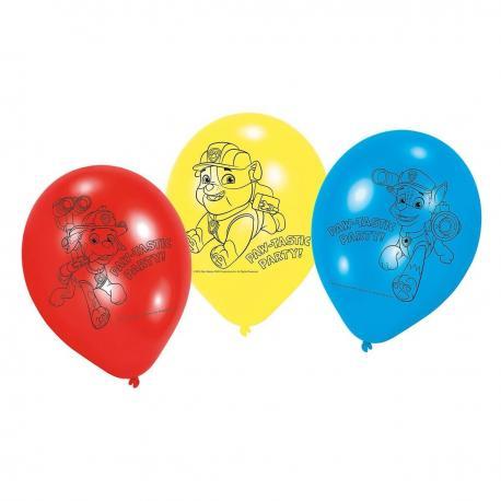 6 Ballons imprimés Pat Patrouille - 23 cm