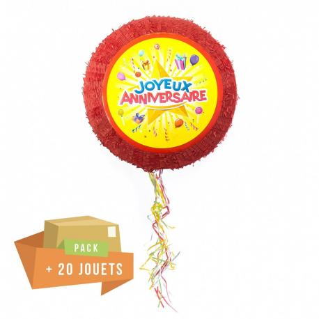 Pack pinata Joyeux anniversire + 20 jouets - My Party Kidz