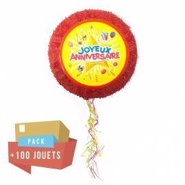 Pack pinata Joyeux anniversaire + 100 jouets
