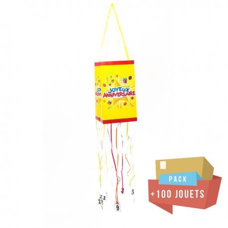Pack pinata souple Joyeux Anniversaire + 100 jouets - My Party Kidz