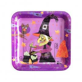6 Assiettes en carton Sorcière Halloween - 23 cm