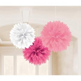 3 Décorations Pompons Fluffy Rose