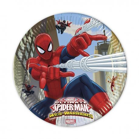 8 Assiettes en carton Spiderman Web Warriors - 23 cm - My Party Kidz