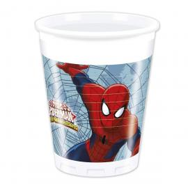8 Gobelets en plastique Spiderman Web Warriors - 20 cl - My Party Kidz