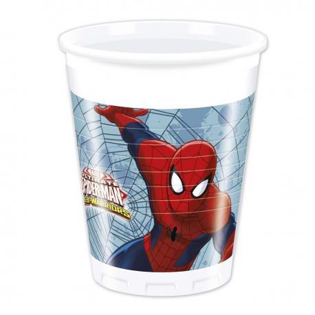 8 Gobelets en plastique Spiderman Web Warriors - 20 cl - My Party Kidz