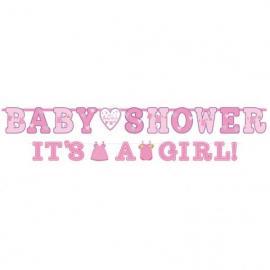 2 Guirlandes Lettres Baby Shower Girl - rose