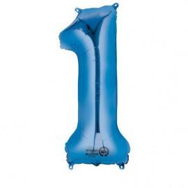 1 ballon alu Chiffre 1 - Bleu - 86 cm My Party Kidz