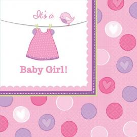 16 Serviettes en papier Baby Girl 33 x 33 cm - My Party Kidz