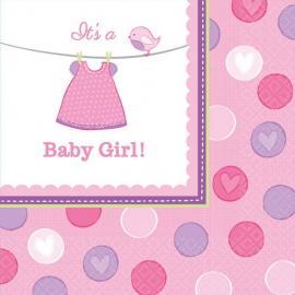 16 Serviettes en papier Baby Girl 33 x 33 cm