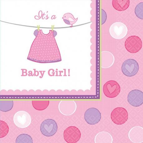 16 Serviettes en papier Baby Girl 33 x 33 cm - My Party Kidz