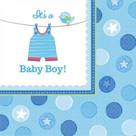 16 Serviettes en papier Baby Boy 33 x 33 cm - My Party Kidz