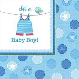 16 Serviettes en papier Baby Boy 33 x 33 cm