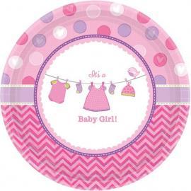 8 petites Assiettes en carton Baby Girl - 18 cm