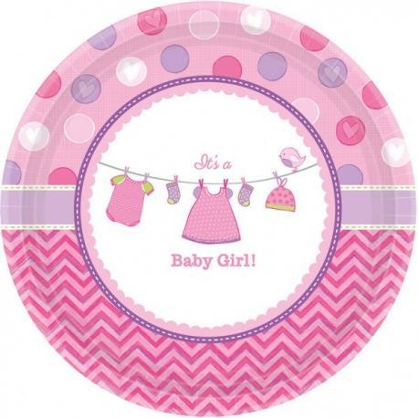 8 petites Assiettes en carton Baby Girl - 18 cm - My Party Kidz