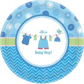 8 petites Assiettes en carton Baby Boy - 18 cm - My Party Kidz