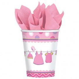 8 Gobelets en carton Baby Girl - 27 cl