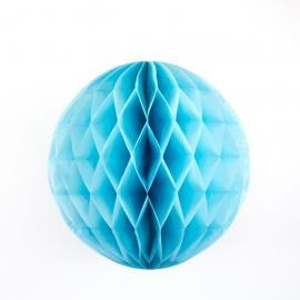Boule papier alvéolée bleu turquoise - diam 30 cm