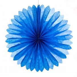 Eventail papier bleu - diam 45 cm