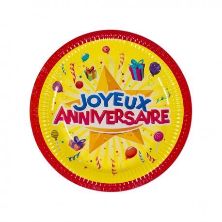 6 Assiettes en carton Joyeux Anniversaire - 23 cm - My Party Kidz