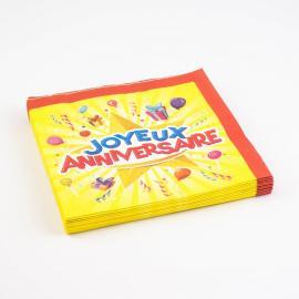 20 Serviettes en papier Joyeux Anniversaire - 33 x 33 cm