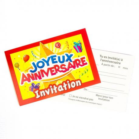 10 Invitations Joyeux Anniversaire - My Party Kidz