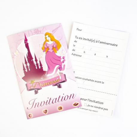 6 Invitations Princesse - My Party Kidz