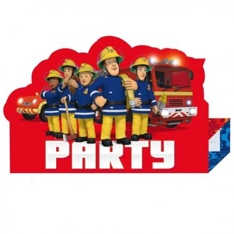 8-invitations-sam-le-pompier - MyPartyKidz