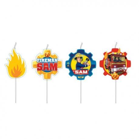 4-mini-bougies-sam-le-pompier - MyPartyKidz