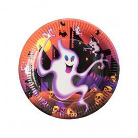 6 Assiettes en carton Fantômes Halloween- 23 cm - MyPartyKidz