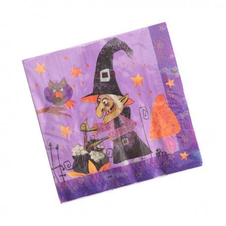 12 Serviettes en papier Sorcière Halloween - 33 x 33 cm - MyPartyKidz