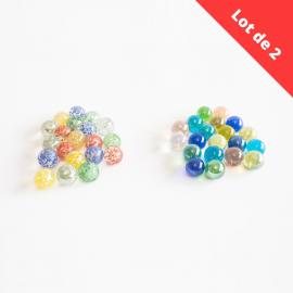 Lot de 2 - 20 Billes Pépites + 20 Billes Perles - My Party Kidz