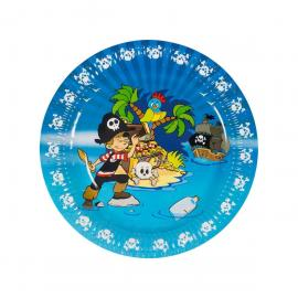 6 Assiettes en carton Pirate - 23 cm