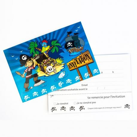6 Invitations Pirate - My Party Kidz