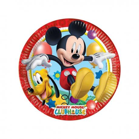 8 Assiettes en carton Mickey - 23 cm - My Party Kidz
