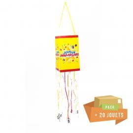 Pack pinata souple Joyeux Anniversaire + 20 jouets