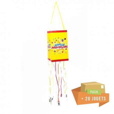 Pack pinata souple Joyeux Anniversaire + 20 jouets - My Party Kidz
