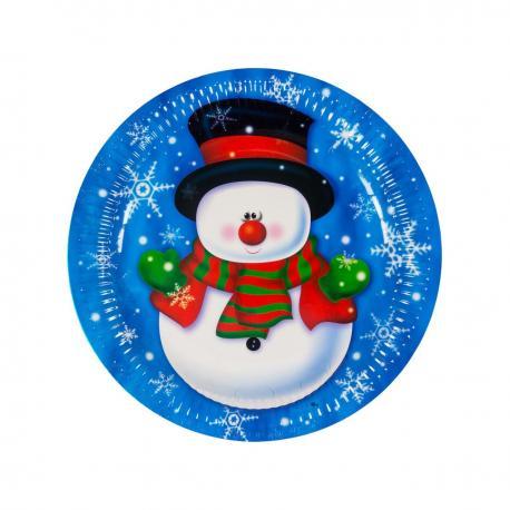 6 assiettes en carton Snow Man - My Party Kidz