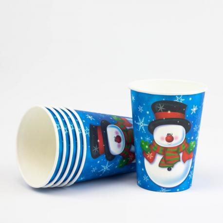 6 gobelets en carton Snow Man - My Party Kidz