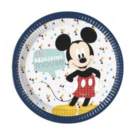 8 Assiettes premium en carton Mickey Awesome - 23 cm - My Party Kidz