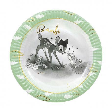 8 Assiettes premium en carton Bambi - 23 cm - My Party Kidz