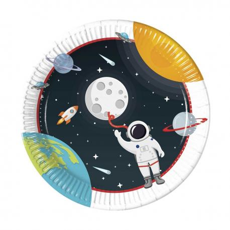 8 Assiettes en carton Astronaute - 23 cm - My Party Kidz