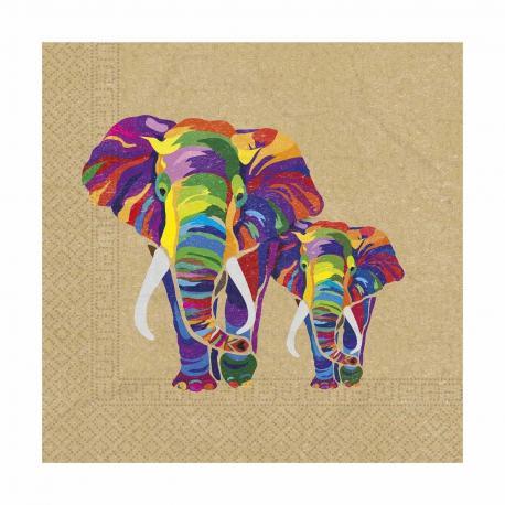 20 Serviettes en papier compostable Elephant - 33 x 33 cm