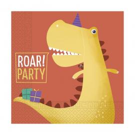 20 Serviettes en papier compostable Dinosaure - 33 x 33 cm - My Party Kidz